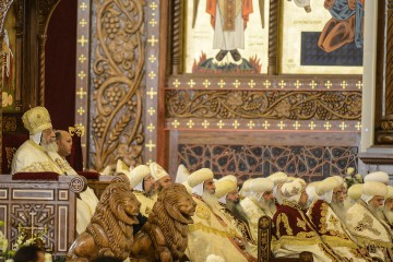 Pope Tawadros II of Alexandria leads mass in the Cathedral of the Nativity of Christ in Egypt's New Administrative Capital on January 6, 2019. Egypt was set to inaugurate a massive cathedral amid heavy security on Coptic Christmas Eve Sunday, a day after a deadly bomb blast near a church in the country where jihadists have repeatedly targeted Christians. President Abdel Fattah al-Sisi observed a moment of silence after the January 5, 2019 explosion on the eastern edge of Cairo, that killed a policeman who was trying to defuse the device and wounded two others. (Photo by Mohamed el-Shahed / AFP)