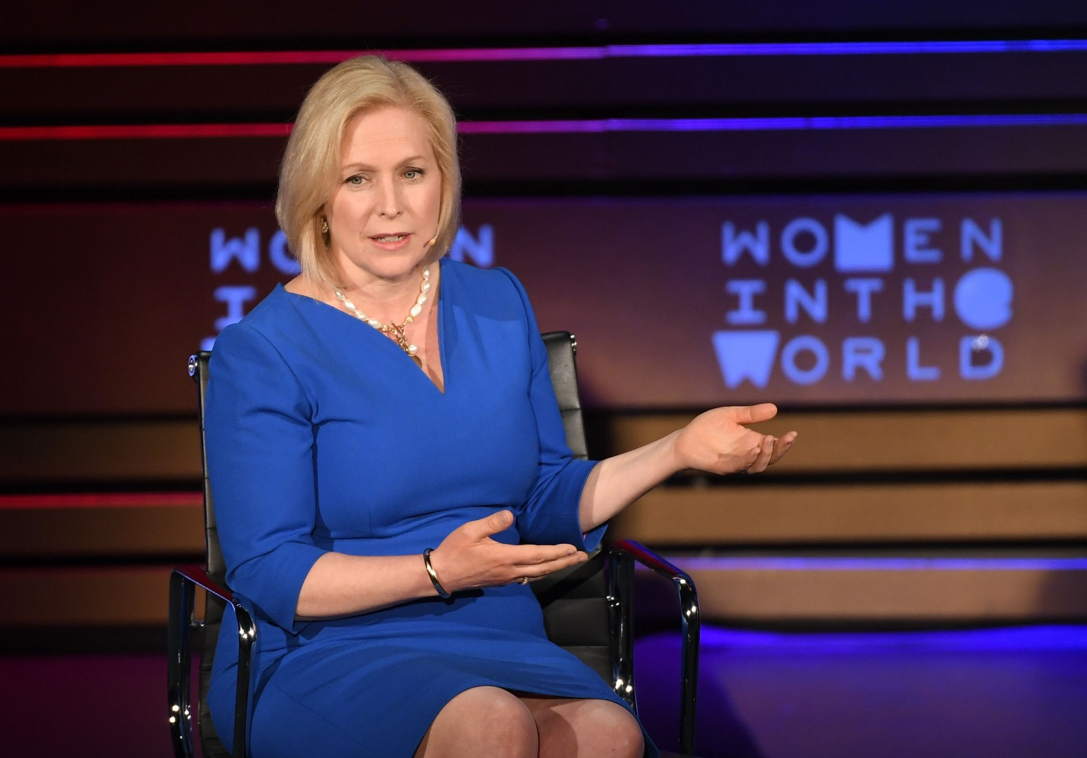 (FILES) In this file photo taken on April 13, 2018 US Senator Kirsten Gillibrand (D-NY) speaks onstage at the Women of the World Summit in New York City. - Democratic US Senator Kirsten Gillibrand, an outspoken Donald Trump critic and champion of women's issues including the #MeToo movement, announced on January 15, 2019 that she is running for president. (Photo by ANGELA WEISS / AFP)