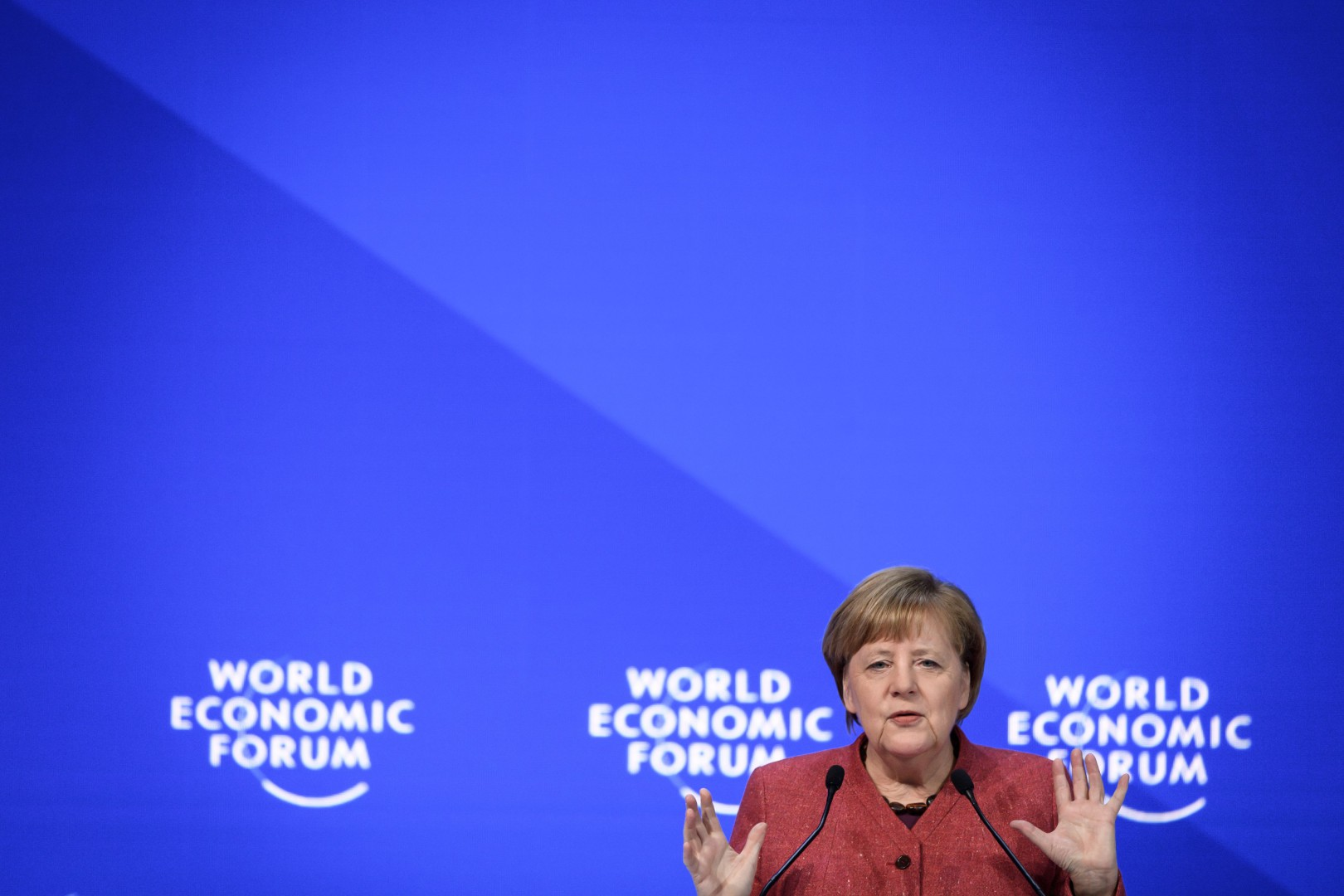 German chancellor Angela Merkel delivers a speech during the World Economic Forum (WEF) annual meeting, on January 23, 2019 in Davos, eastern Switzerland. (Photo by Fabrice COFFRINI / AFP)