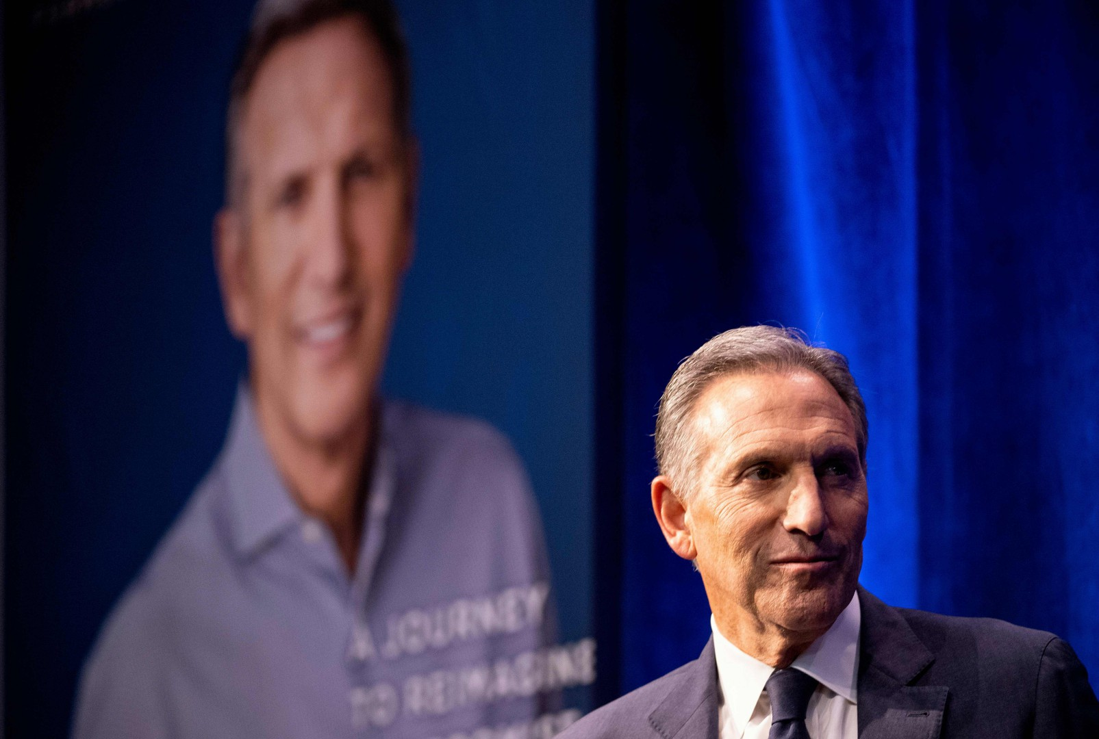 Former Chairman and CEO of Starbucks, Howard Schultz, speaks during the presentation of his book 'From The Ground Up' on January 28, 2019 in New York City. (Photo by Johannes EISELE / AFP)
