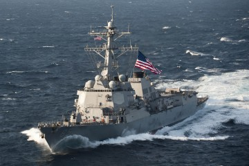 120621-N-TX154-373  EAST CHINA SEA (June 21, 2012) USS McCampbell (DDG 85) moves into formation during a trilateral exercise in the East China Sea. The U.S. Navy, Japan Maritime Self Defense Force and Republic of Korea navy ships are participating in the exercise to improve interoperability, readiness and the capability to respond quickly to various situations in the region, ranging from disaster relief to maritime security activities. (U.S. Navy photo by Mass Communication Specialist 3rd Class Paul Kelly/Released)
