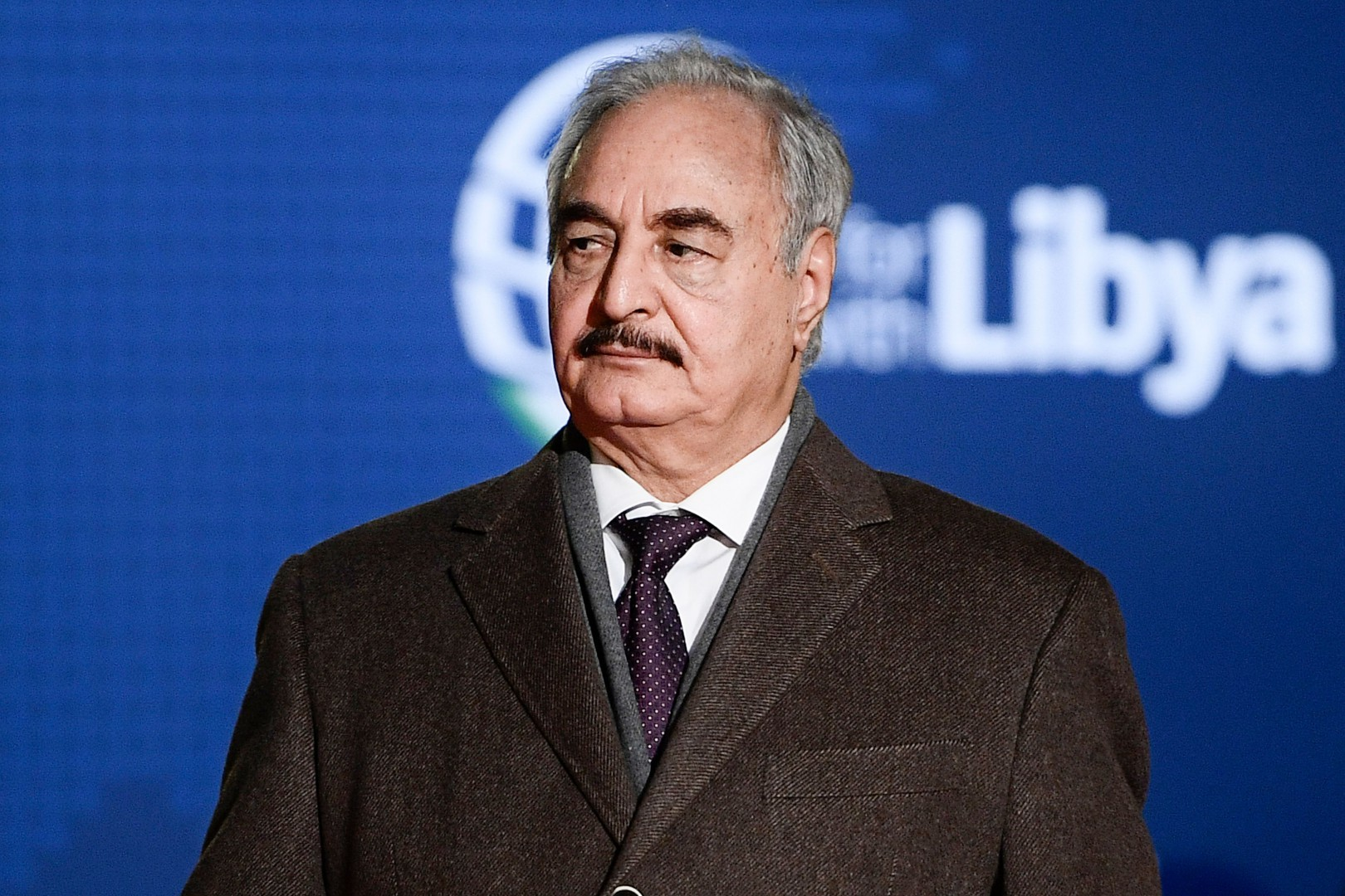 Libya Chief of Staff, Marshall Khalifa Haftar arrives for a conference on Libya on November 12, 2018 at Villa Igiea in Palermo. - Libya's key political players meet with global leaders in Palermo on November 12 in the latest bid by major powers to kickstart a long-stalled political process and trigger elections. (Photo by Filippo MONTEFORTE / AFP)