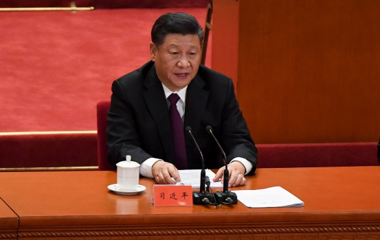 CORRECTION - China's President Xi Jinping gives a speech during a celebration meeting marking the 40th anniversary of China's reform and opening up at the Great Hall of the People in Beijing on December 18, 2018. (Photo by WANG Zhao / AFP) / ìThe erroneous mention[s] appearing in the metadata of this photo by WANG Zhao has been modified in AFP systems in the following manner: [correcting Source to AFP instead of Pool]. Please immediately remove the erroneous mention[s] from all your online services and delete it (them) from your servers. If you have been authorized by AFP to distribute it (them) to third parties, please ensure that the same actions are carried out by them. Failure to promptly comply with these instructions will entail liability on your part for any continued or post notification usage. Therefore we thank you very much for all your attention and prompt action. We are sorry for the inconvenience this notification may cause and remain at your disposal for any further information you may require.î