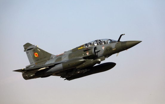 A Mirage 2000 aircraft of the French Air Force, takes off from an airbase in N'Djamena on December 22, 2018, to take part in a Barkhane mission in Africa's Sahel region. (Photo by Ludovic MARIN / AFP)