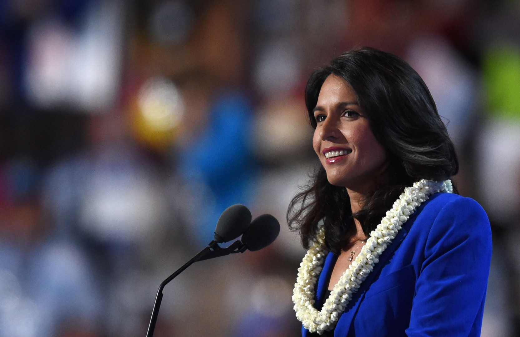 (FILES) In this file photo US Representative Tulsi Gabbard speaks during Day 2 of the Democratic National Convention at the Wells Fargo Center in Philadelphia, Pennsylvania, July 26, 2016. - Rep. Tulsi Gabbard US Representative for Hawaii's 2nd congressional district since 2013, said Friday January 11, 2019 she will run for president in 2020. (Photo by Timothy A. CLARY / AFP)