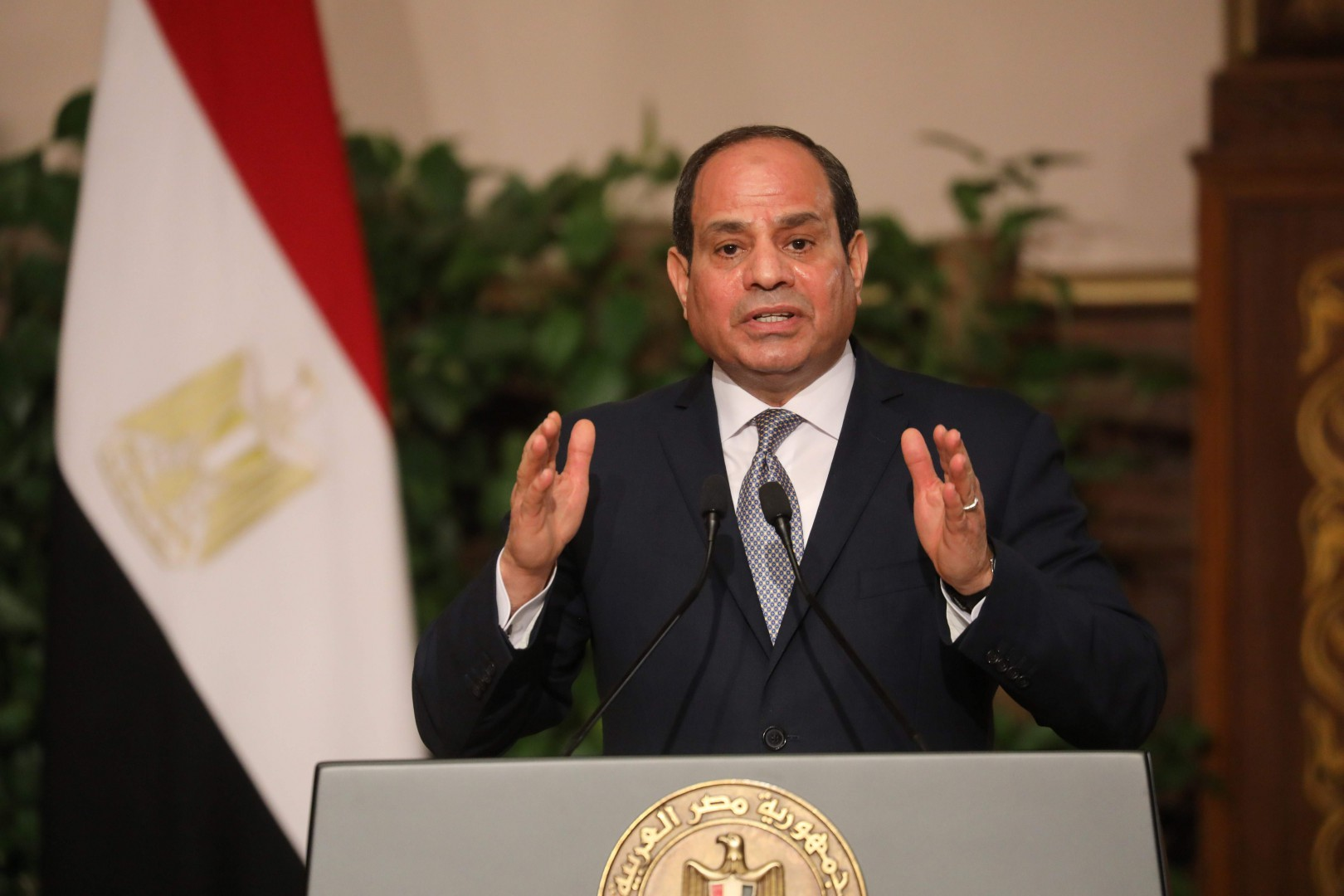 """Egyptian President Abdel Fattah al-Sisi speaks during a joint press conference with his French counterpart after their meeting in Cairo on January 28, 2019. - French President Emmanuel Macron called for """"respect for individual freedoms"""" during his meeting with Sisi on his first official visit to Egypt. (Photo by Ludovic MARIN / AFP)"""