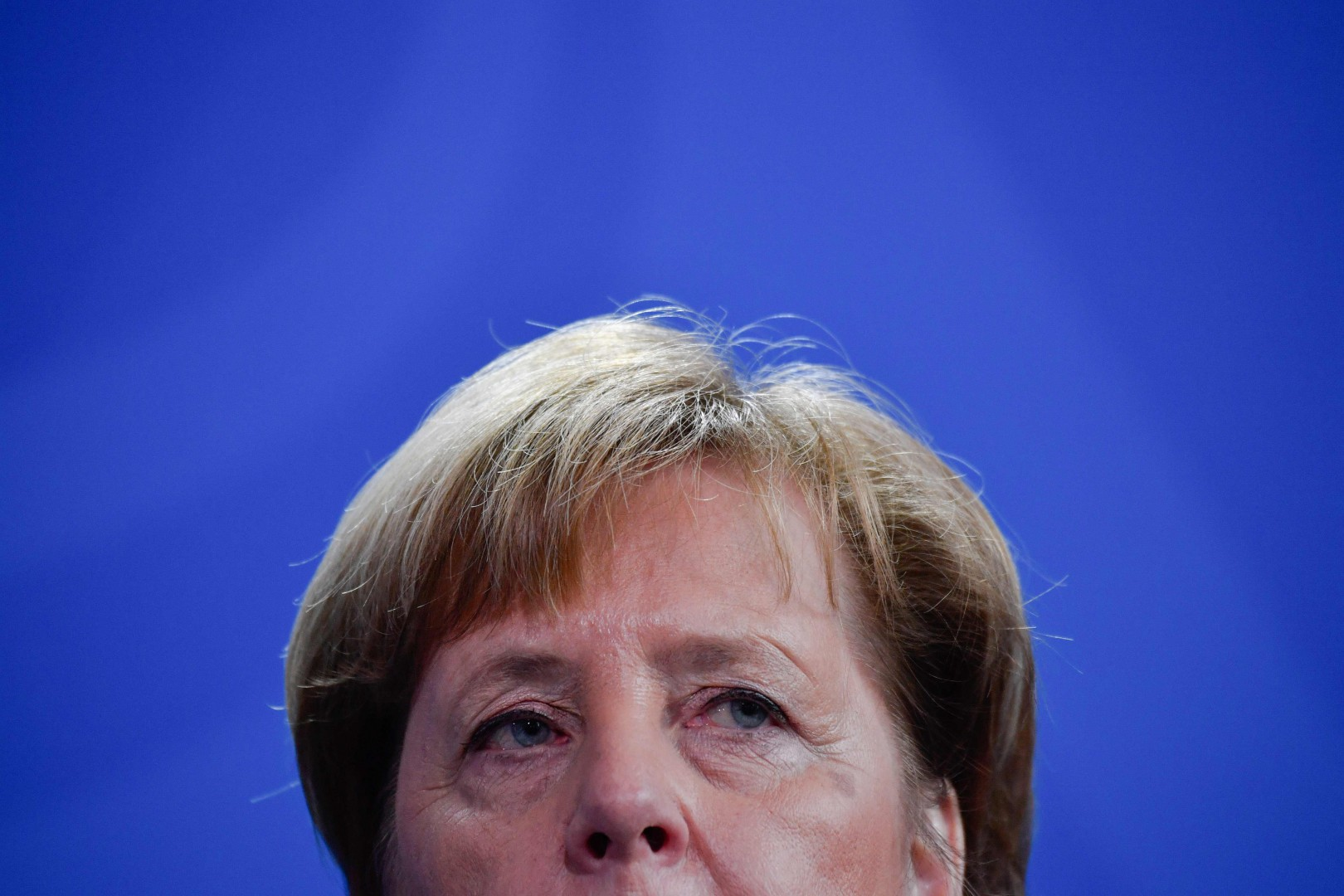 German Chancellor Angela Merkel looks on during a joint press conference with the Armenian Prime Minister after a meeting at the chancellery in Berlin, on February 1, 2019 (Photo by John MACDOUGALL / AFP)