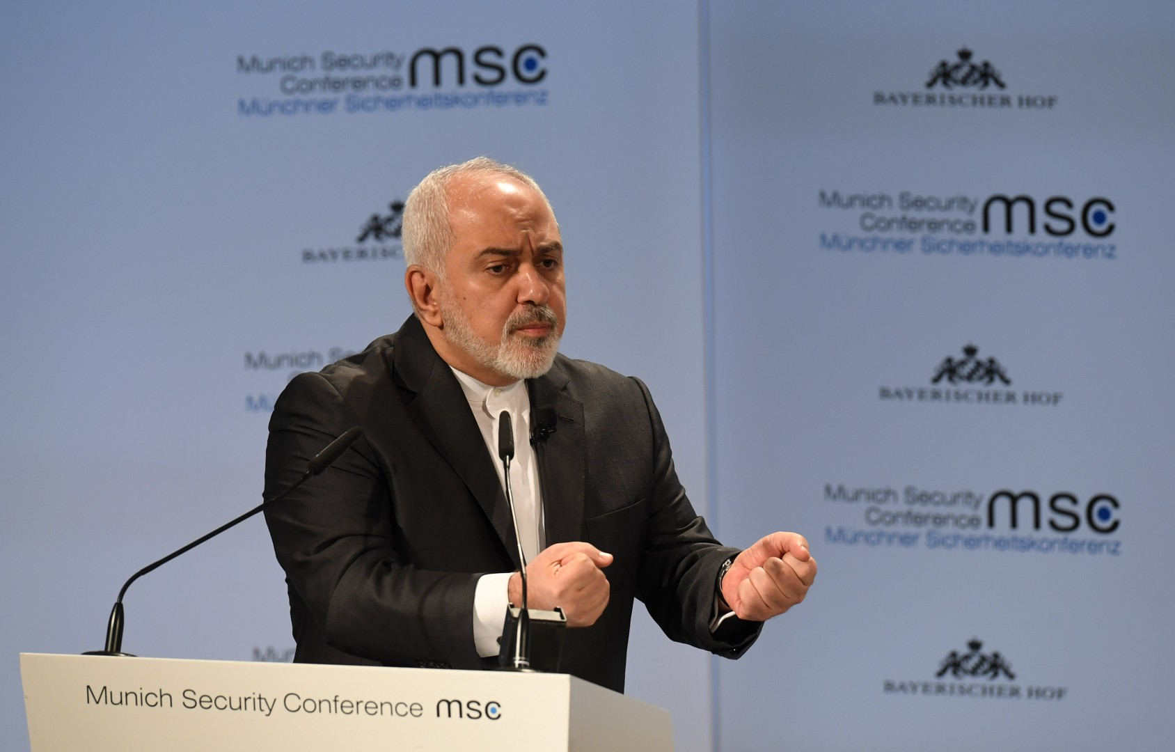 Iran's Foreign Minister Mohammad Javad Zarif delivers a speech during the 55th Munich Security Conference in Munich, southern Germany, on February 17, 2019. (Photo by Christof STACHE / AFP)