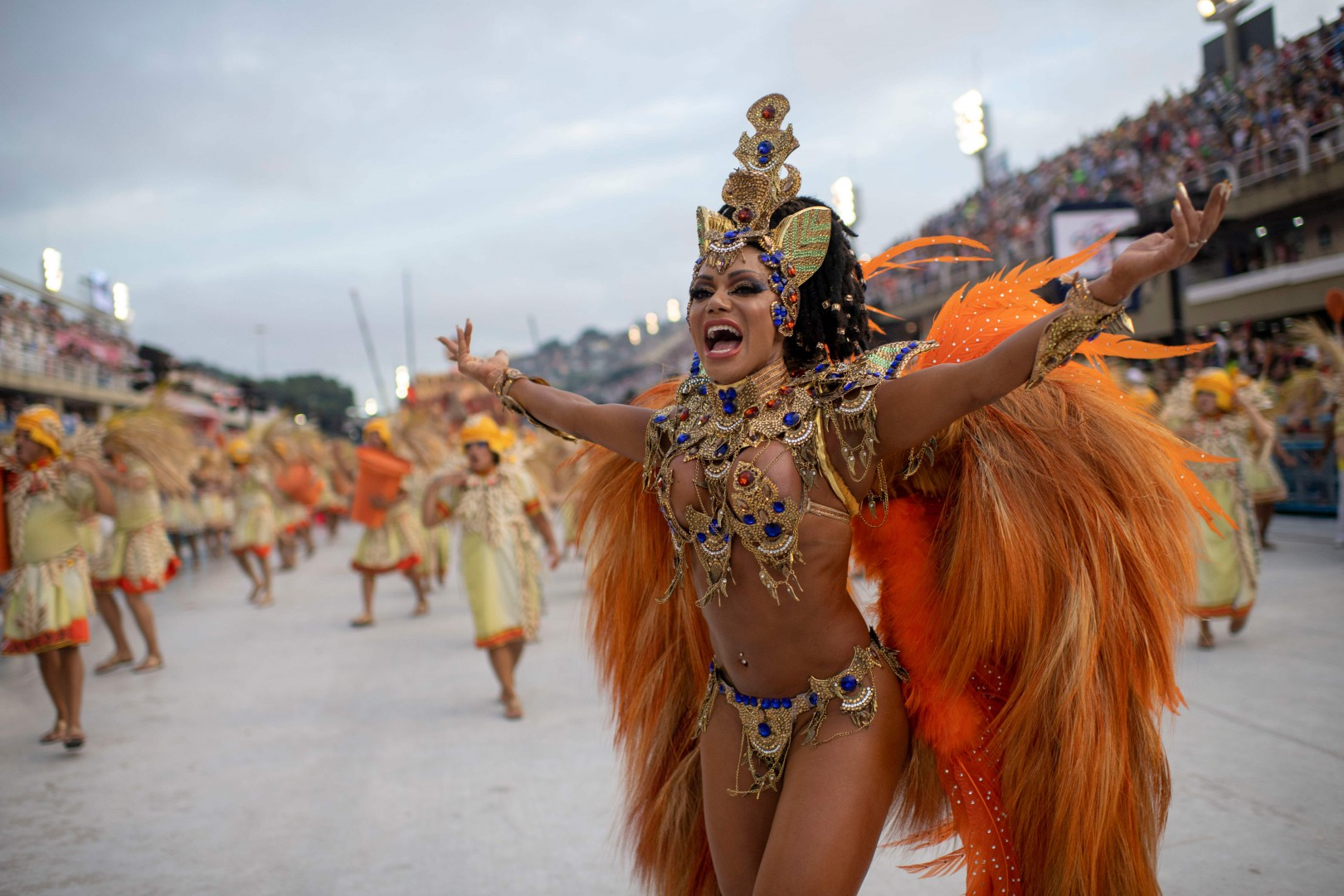 Members of Unidos da Tijuca samba school perform during the first night of Rio's Carnival at the Sambadrome in Rio de Janeiro on March 4, 2019. (Photo by Mauro Pimentel / AFP)