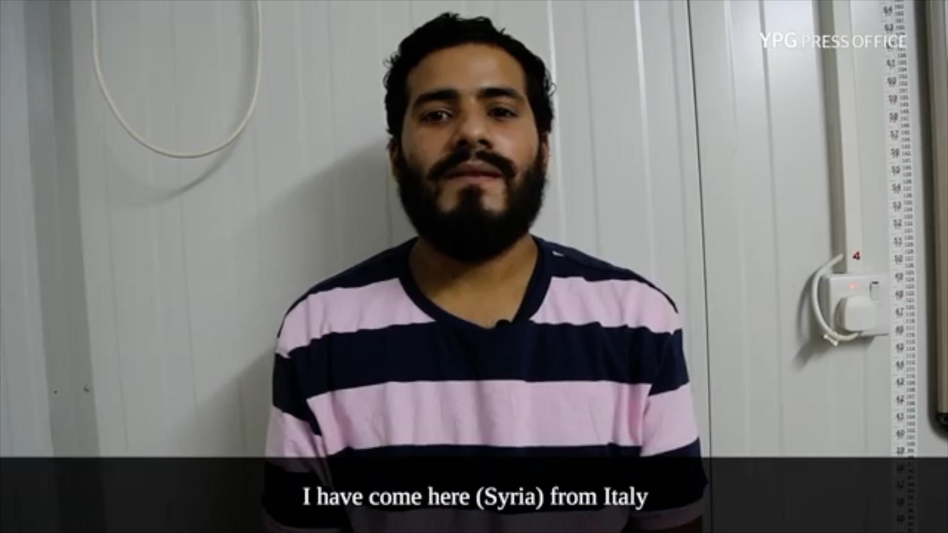 Samir Bougana, in un video girato dai curdi dopo il suo arresto del 27 agosto scorso