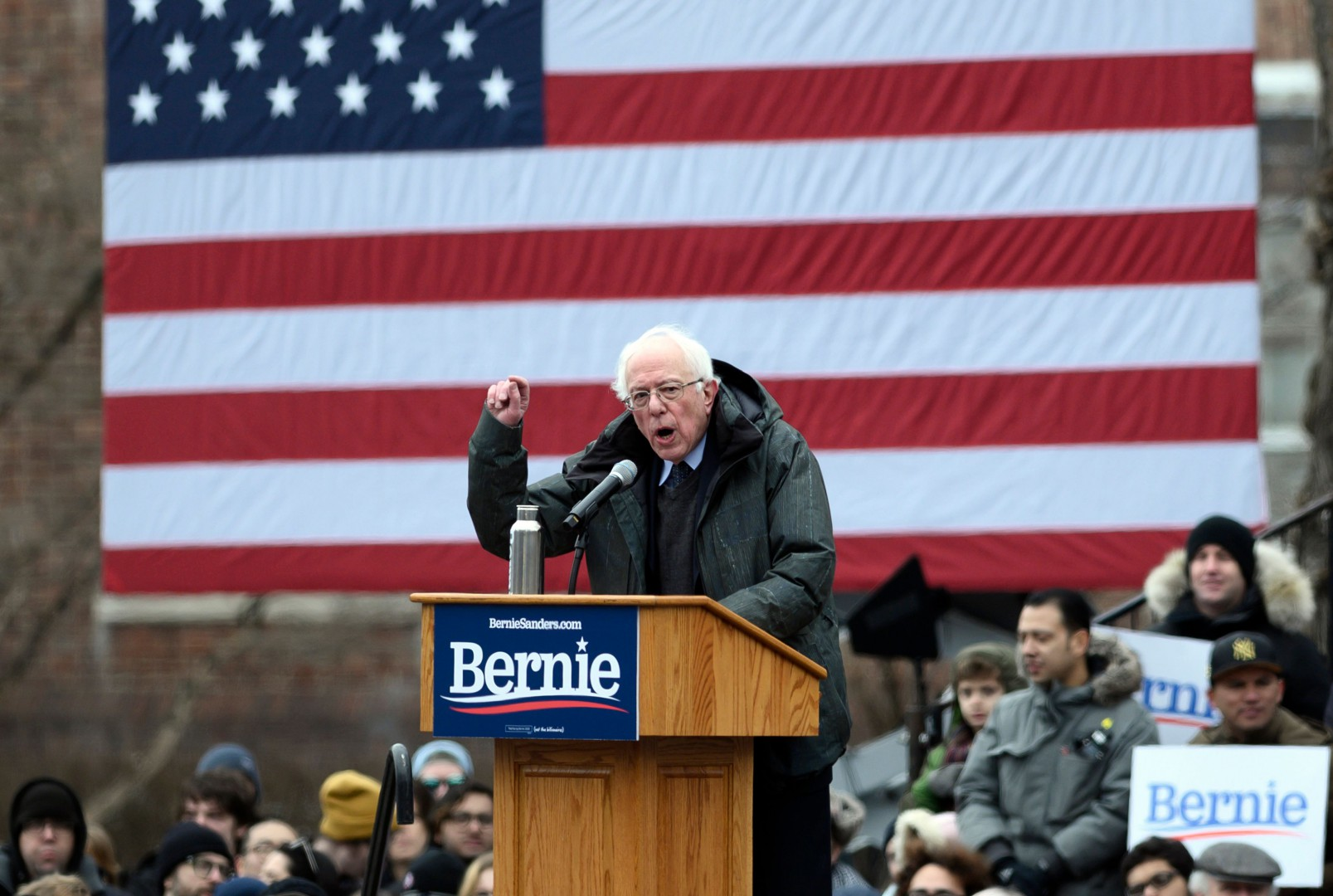 US Senator Bernie Sanders speaks during a rally to kick off his 2020 US presidential campaign, in the Brooklyn borough of New York City on March 2, 2019. (Photo by JOHANNES EISELE / AFP) / ALTERNATIVE CROP