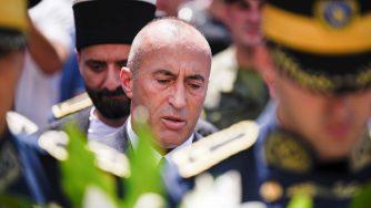 Ramush Haradinaj a una commemorazione nella città di Rahovec il 21 luglio del 2019 (LaPresse)