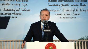 Il presidente turco Recep Tayyip Erdogan all'inaugurazione della costruzione della prima chiesa nella storia della Repubblica (LaPresse)