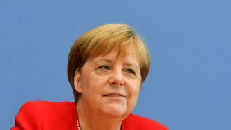 Angela Merkel in conferenza stampa (LaPresse)
