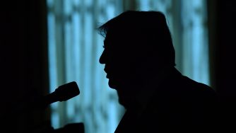 La sagoma d'ombra del presidente americano Donald Trump (LaPresse)
