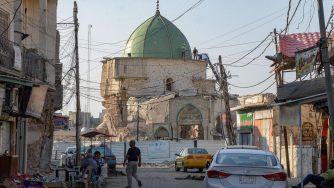 La moschea di Mosula distrutta