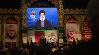 Hassan Nasrallah, leader di Hezbollah, parla all'indomani dell'attacco contro il Qassem Soleimani (LaPresse)