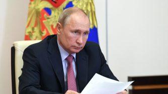 Russia: il Presidente Vladimir Putin in video conferenza