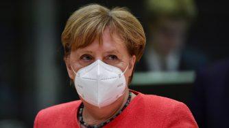 Angela Merkel al Consiglio europeo sul Recovery (La Presse)