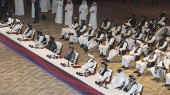 La delegazione dei talebani a Doha (LaPresse)