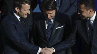 Conte, Macron e Di Maio (la Presse)