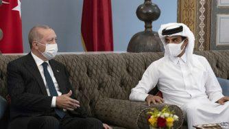 Erdogan, con l'emiro del Qatar (La Presse)