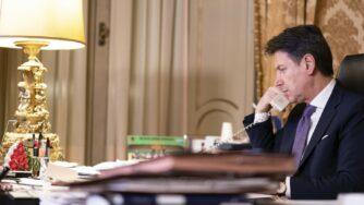 Il Presidente del Consiglio Giuseppe Conte a Palazzo Chigi (La Presse)