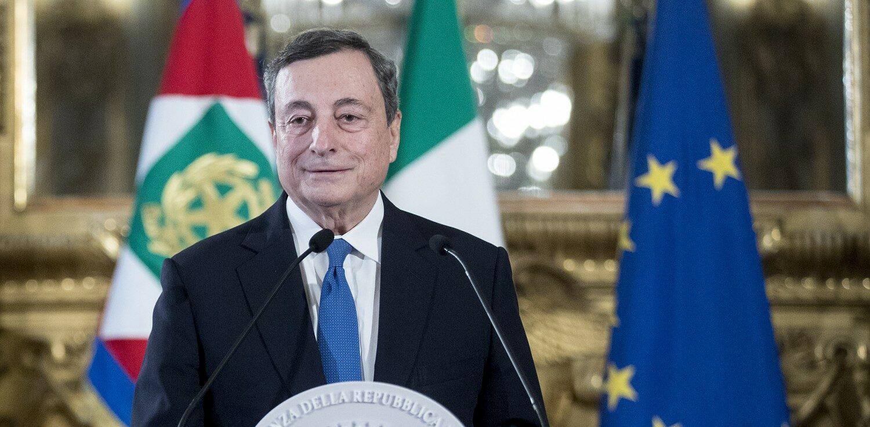 Quirinale - Dichiarazioni del Presidente del Consiglio incaricato Mario Draghi (La Presse)