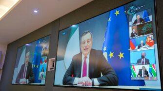 Mario Draghi conferenza leader (La Presse)