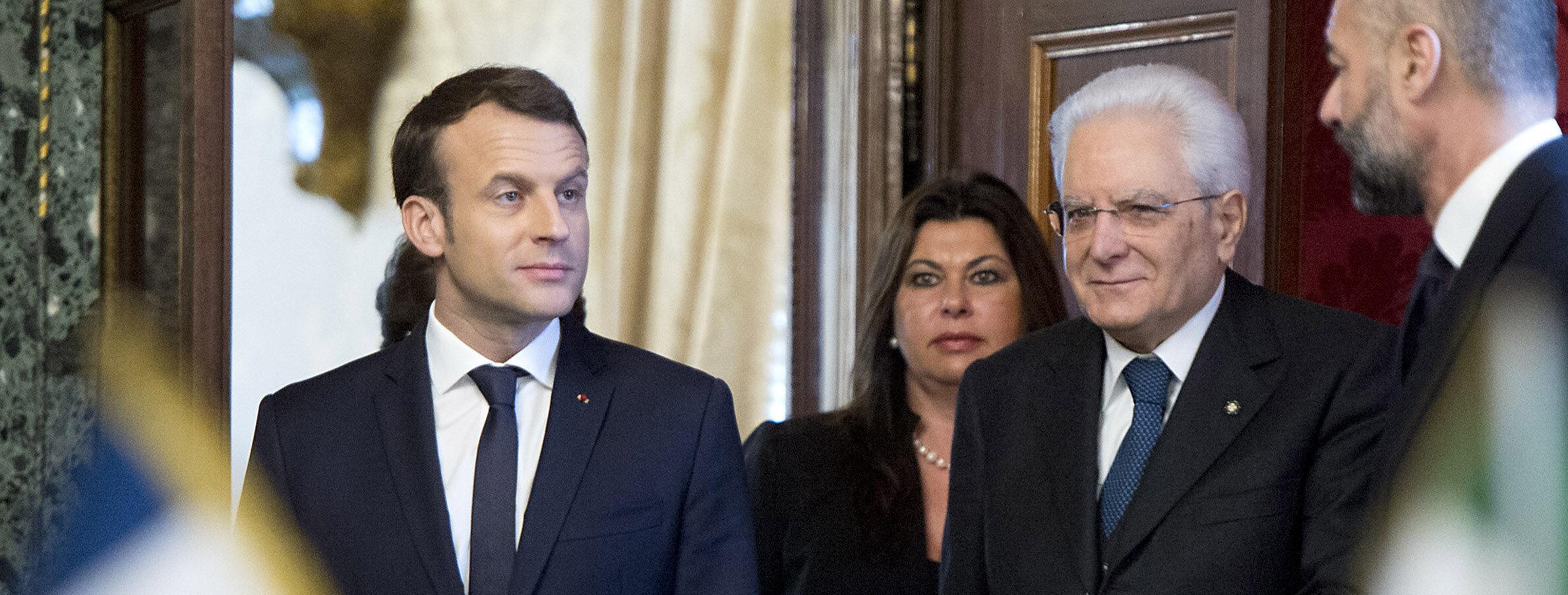 Il presidente francese Emmanuel Macron incontra il presidente della Repubblica italiana Sergio Mattarella (LaPresse)